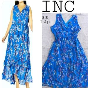 INC blue floral faux wrap ruffle dress. Sz 12p